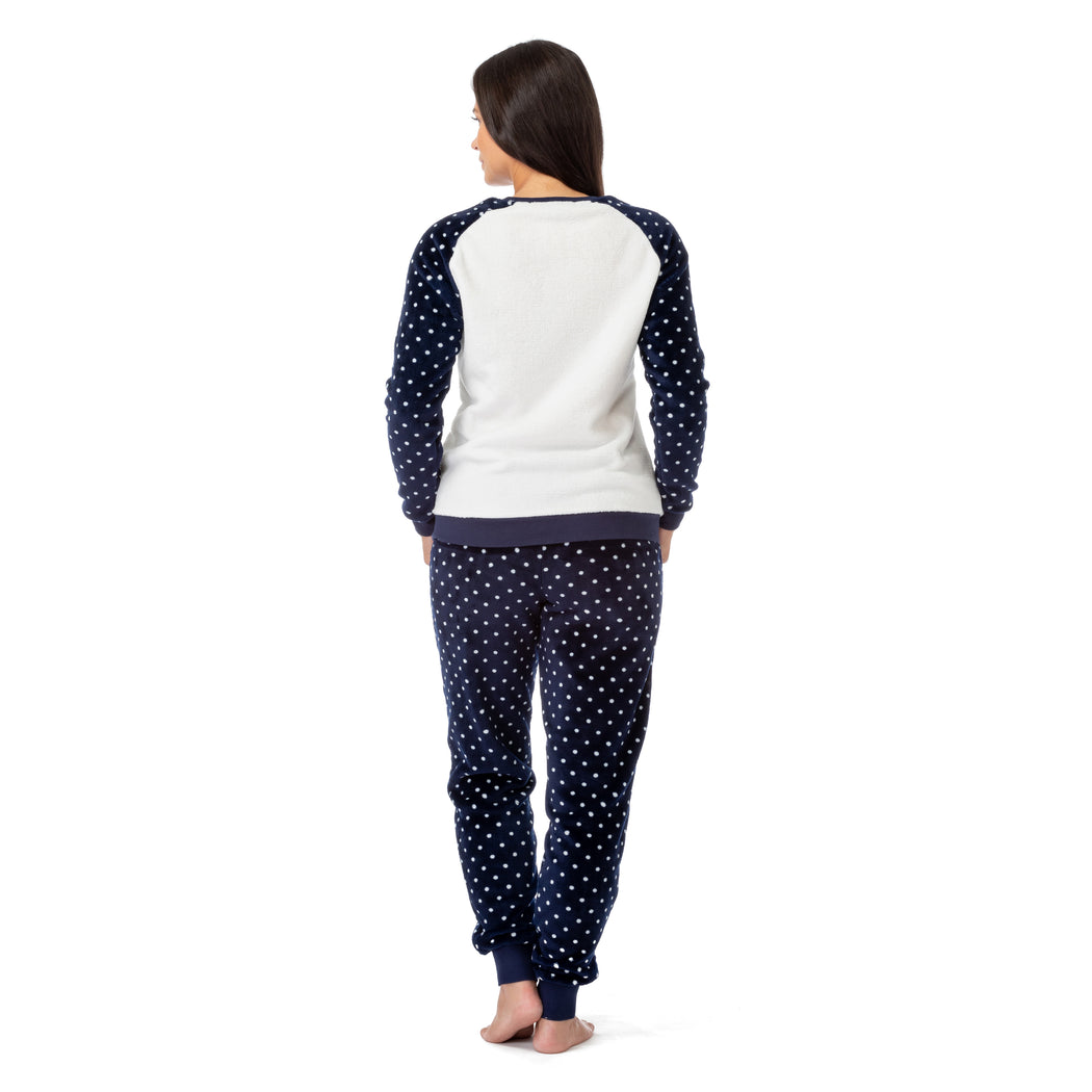 Long Sleeve Fleece Pajama Set with Reversible Sequin Heart