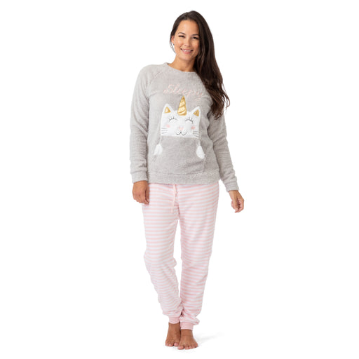 Long Sleeve Cat Fleece Pajama Set