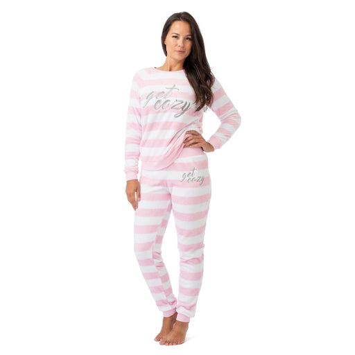 Women's Striped Pink Fleece 2pc Pajama Set