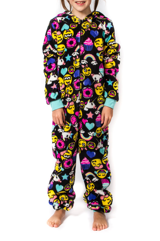 Girl's Peace Love & Fashion Emoji Onesies - Black