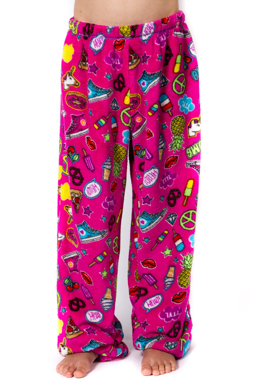 Peace Love & Fashion Girl's Emoji Pants - Pink