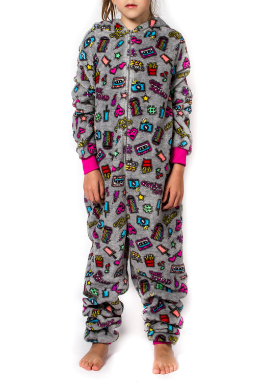Girl's Peace Love & Fashion Emoji Onesies – Grey