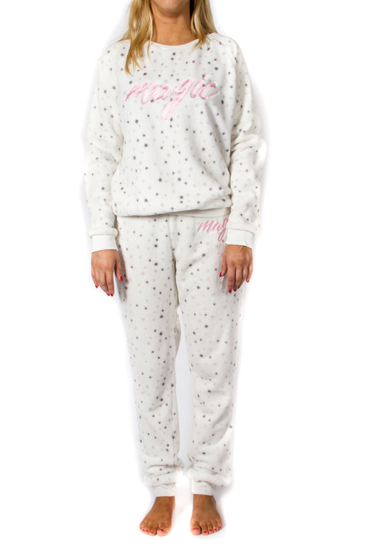 Dots & Dreams Women's Fleece 2pc Pajama Set - Starry White