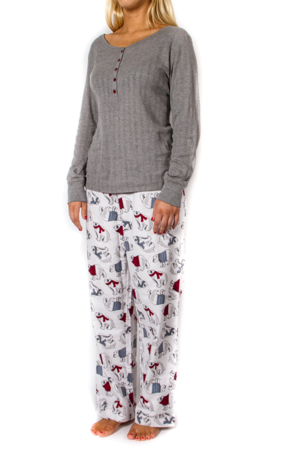 Women's 2pc Long Sleeve Pajama Set - Grey