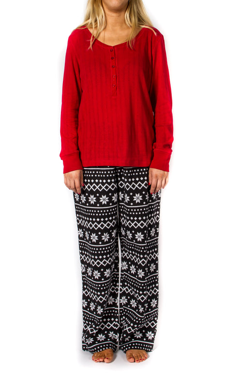Women's 2pc Long Sleeve Pajama Set - Red