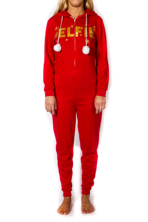 Women's Red Elf Christmas Onesie
