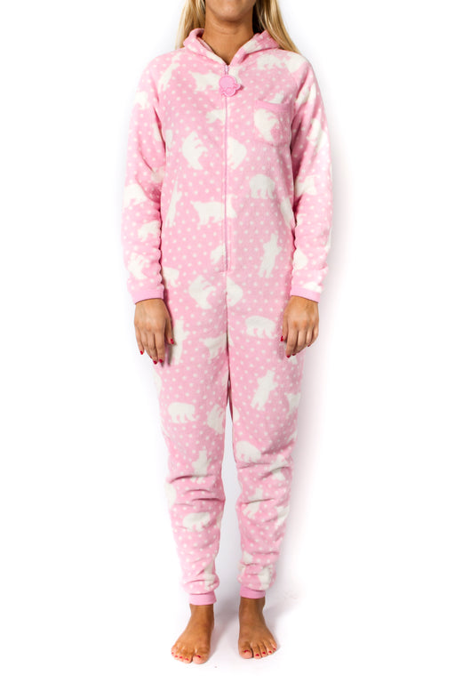 Women's Pink Fleece Polar Bear Onesie