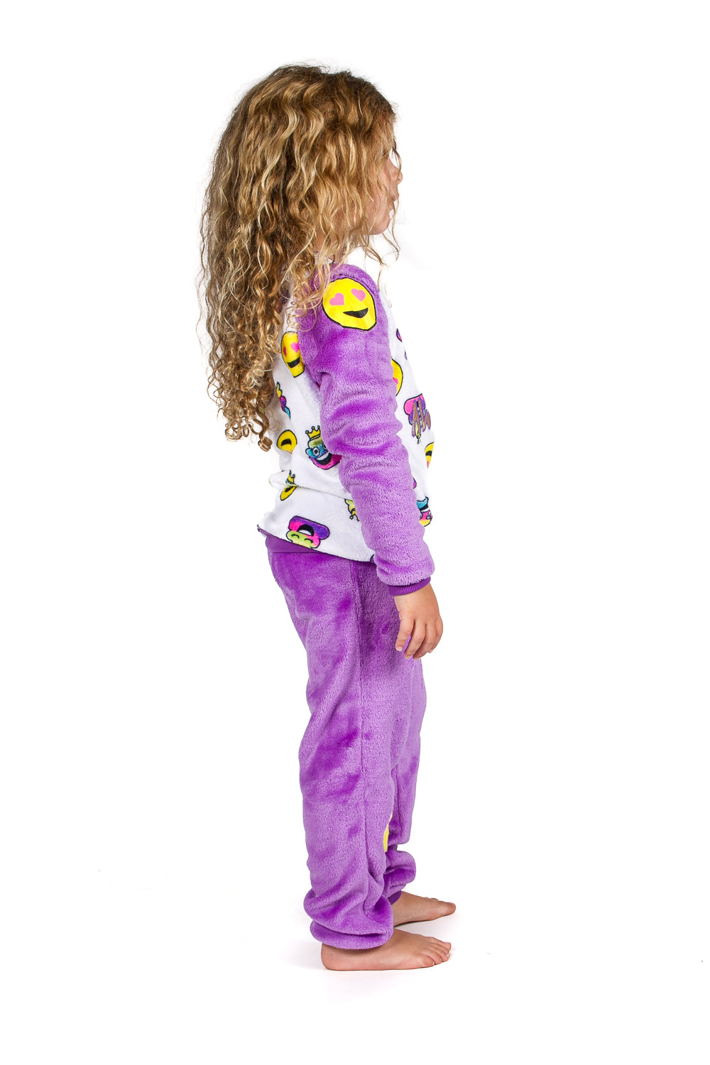 Peace Love & Dreams Current Mood Girls Emoji Fleece Top & Pajama Pant Set