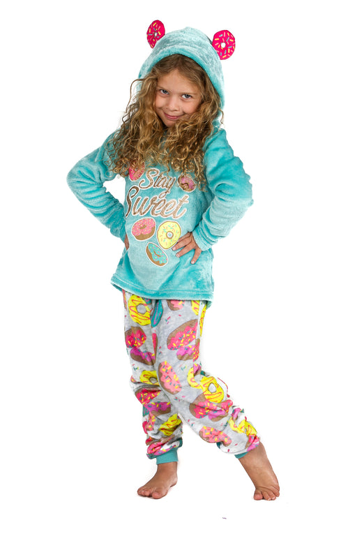 Peace Love & Dreams Current Mood Girls Donut Fleece Hoodie & Pajama Pant Set