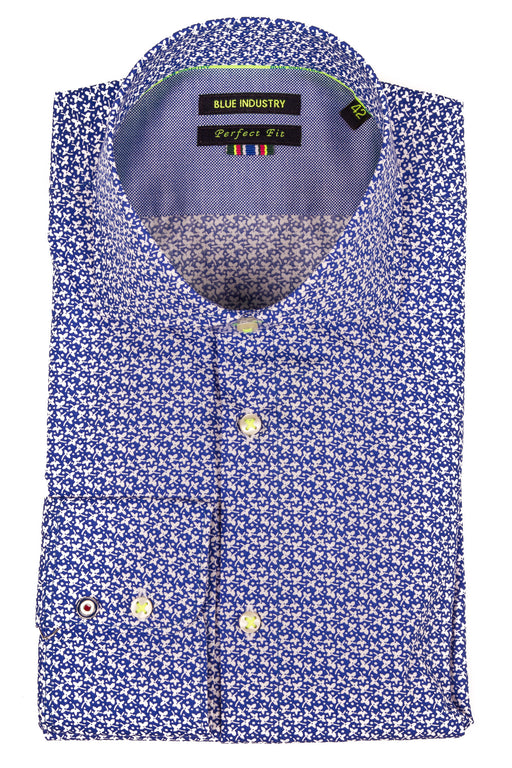 Men's Blue Industry Blue Floral Perfect Fit Dress Shirt - SURPLUS CLOTHING