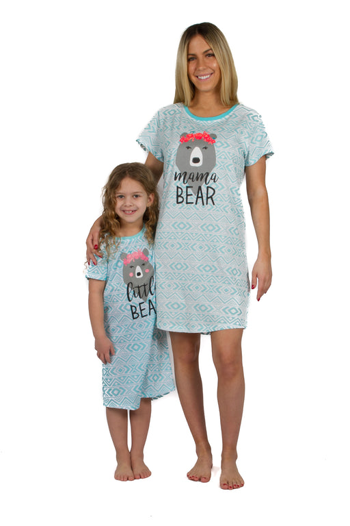 Mommy & Me Matching Short Sleeve Nightgowns - Aqua