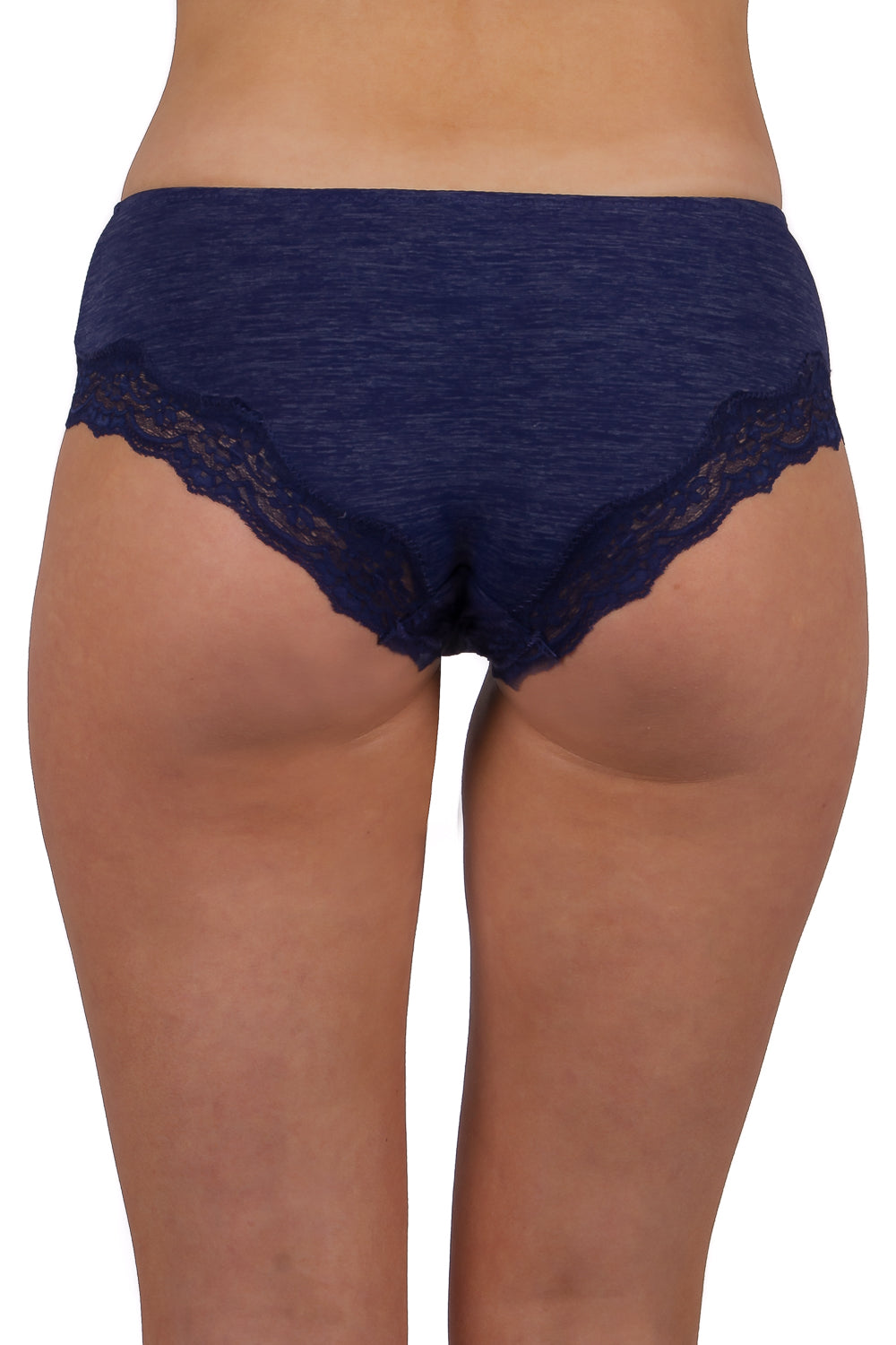 Woman wearing a pair of blue hipster panties with lace