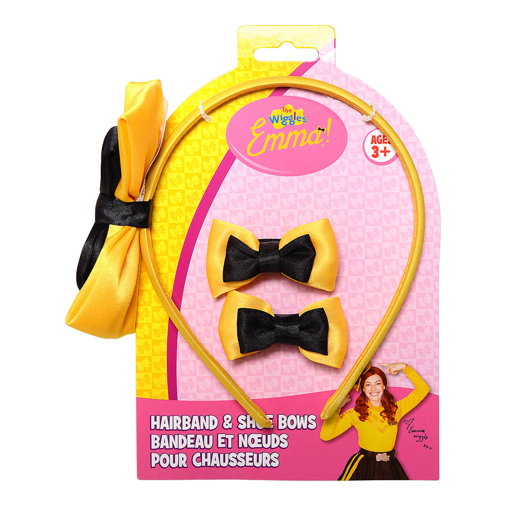 The Wiggles Emma Satin Bow Headband and Matching Shoe Bows