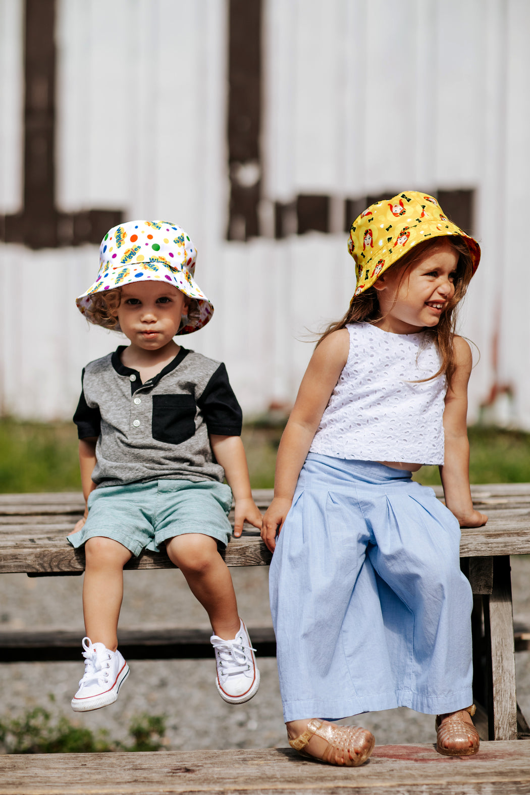 The Wiggles Reversible Packable Bucket Hat for Kids in White