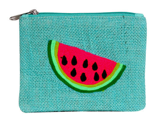 Aqua blue zippered coin purse with watermelon graphic
