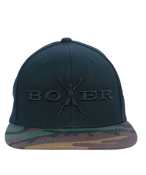 Boxer Men's Adjustable Snapback Black on Camo Baseball Cap