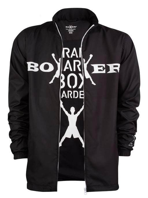 Men's windbreaker-style track jacket in black