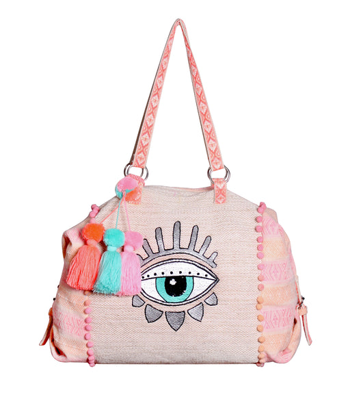Pink and peach boho travel weekender bag with tassels