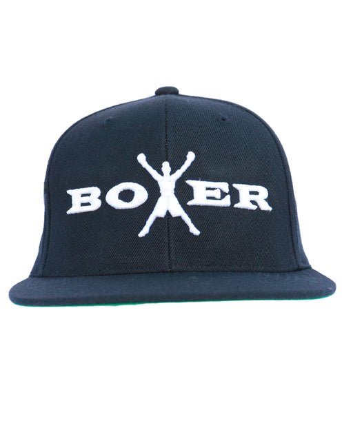 Boxer Men's Adjustable Snapback Black and Green Logo Baseball Cap
