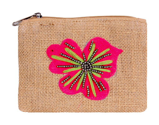 Zippered jute coin purse in dark natural with pink hibiscus flower