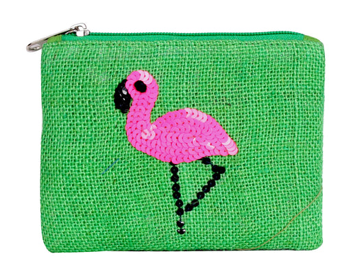 Green zippered jute coin purse with pink flamingo in sequins