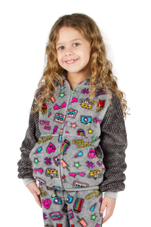 Peace Love & Fashion Girl's Emoji Hoodie - Grey
