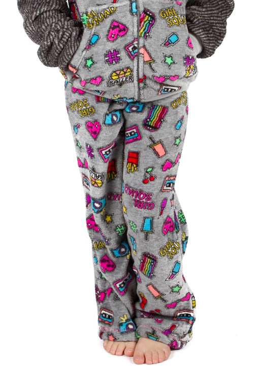 Peace Love & Fashion Girl's Emoji Pants - Grey