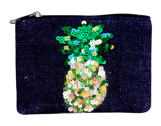 Navy zippered jute coin purse with sequin pineapple graphic on front