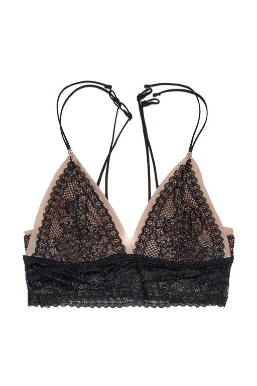 Black triangle stretch lace bralette with cream lining and decorative bra straps