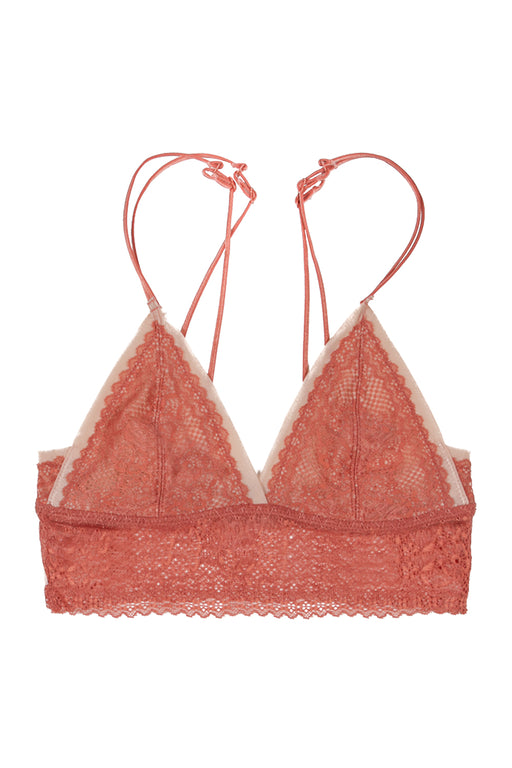 Peach lace triangle stretch lace bralette with cream lining and decorative bra straps