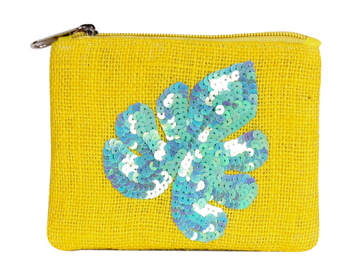 Yellow zippered jute coin purse with blue feather in blue sequins