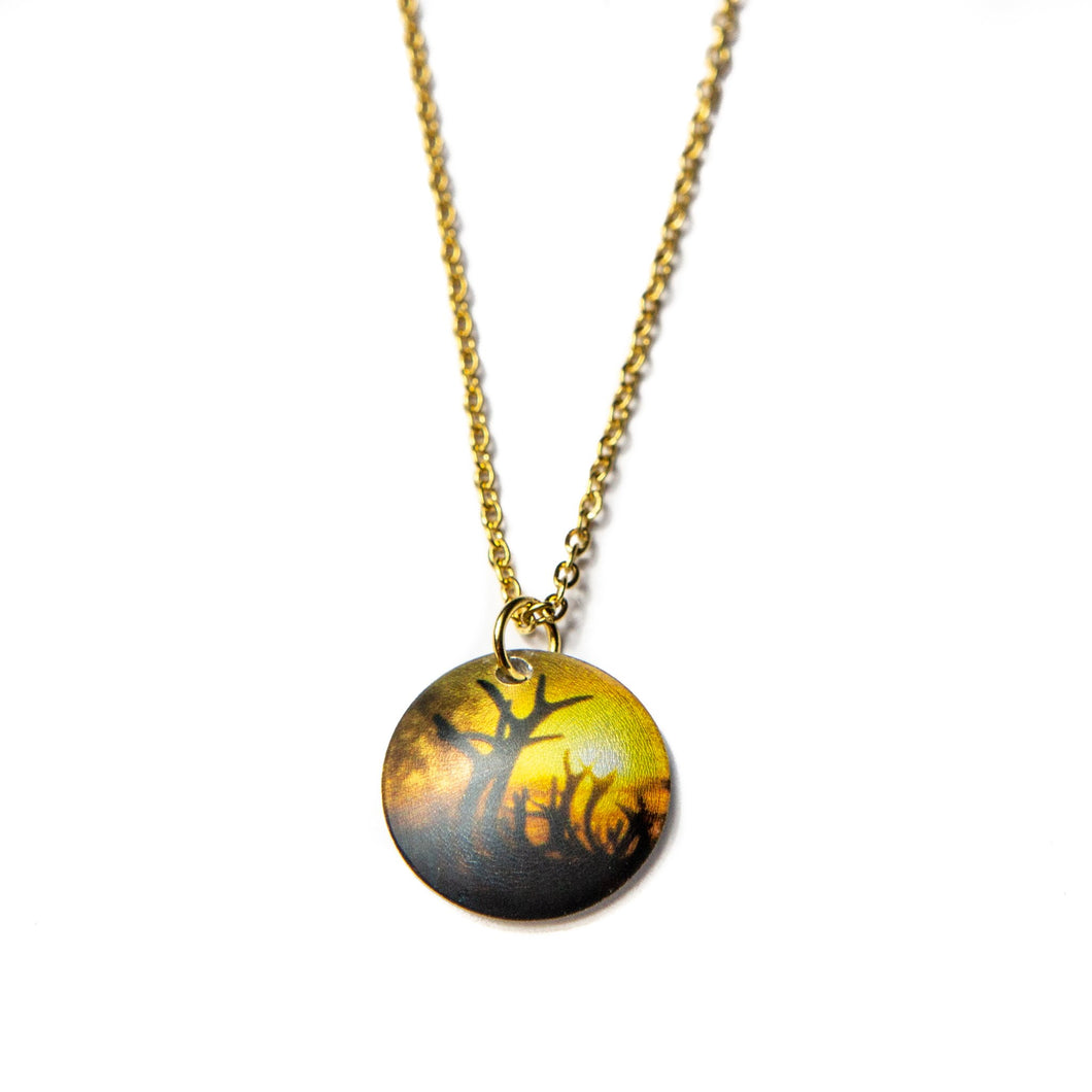 Necklace Reindeer Northern Lights with chain in stainless steel