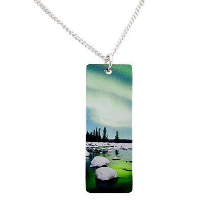 Aurora Aqua Necklace with silver chain