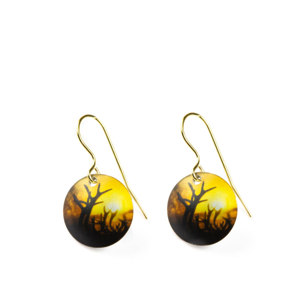 Earrings Reindeer Northern Light goldplated sterling silver