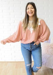 Romantic Day Waffle Knit Top- Rose
