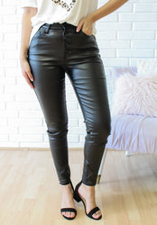 The Jett Vegan Leather Ankle Jeans