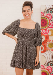 Out and About Floral Dress - Black