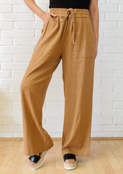 On The Shore Linen Pants  - Deep Camel