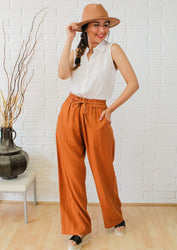 On The Shore Linen Pants - Almond