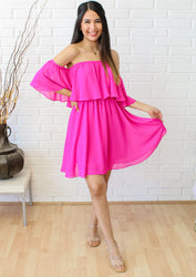 Beautiful Things Off The Shoulder Dress - Neon Berry