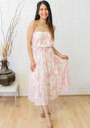 English Countryside Strapless Midi Dress