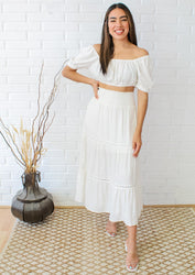 Bohemian Dreams Maxi Skirt Set - Ivory