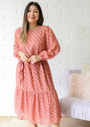 Country Chic Midi Long Sleeve Dress