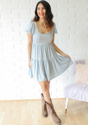 The Perfect Babydoll Dress- Blue