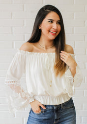 Sweet Escape Off The Shoulder Embroidery Top- White