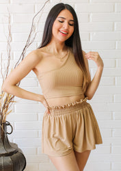 Day to Night 2 Piece Shorts Set - Taupe