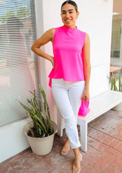 Leading Lady High Low Top - Neon Pink