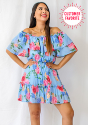 Make Your Day Brighter Romper - Blue