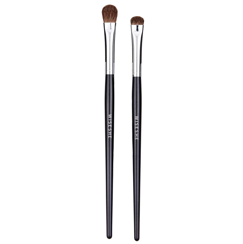 WISESHE Flat Eye Makeup Brush Natural Pony Hair - Set of 2