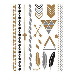 Metalllic Gold and Silver Feathers, Arrows & Chains